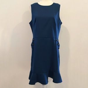 Loft Fitted Shift Dress w Peplum Hem Size 14
